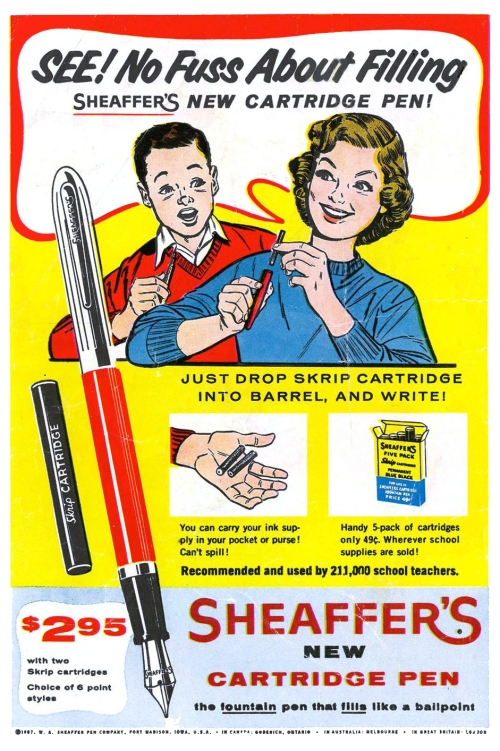 Sheaffer Cartridge Pen Ad, 1957