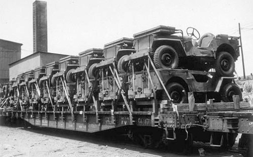 Jeeps On A Flatcar, 1944